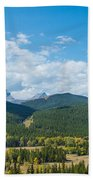 Trees On Canadian Rockies Along Route Beach Towel