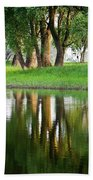 Trees Reflection On The Lake Beach Towel by Heiko Koehrer-Wagner