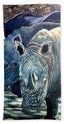 Trio Of Rhino Beach Towel