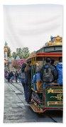 Trolley Car Main Street Disneyland 01 Beach Towel