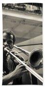 Trombone In New Orleans Beach Towel by David Morefield