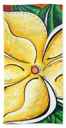 Tropical Abstract Pop Art Original Plumeria Flower Painting Pop Art Tropical Passion By Madart Beach Towel