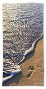 Tropical Beach With Footprints Beach Towel