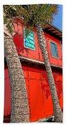 Tropical Orange House Palm Trees - Whoa Now Beach Towel