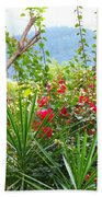 Tropical Red Against Cool Mountain Mists Beach Towel