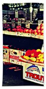 Vintage Outdoor Fruit And Vegetable Stand - Markets Of New York City Beach Towel