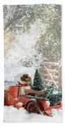 Truck Carrying Christmas Trees Beach Towel