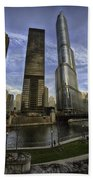 Trump Tower And River Front Beach Towel