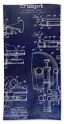 Trumpet Patent Drawing Blue Beach Towel