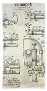 Trumpet Patent Drawing Beach Towel