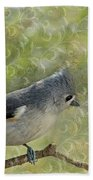 Tufted Titmouse With Decorations Beach Towel