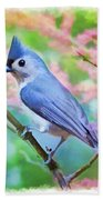 Tufted Titmouse With Spring Booms - Digital Paint II Beach Towel