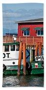 Tug Boat Pilot Docked On Waterfront Art Prints Beach Towel