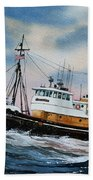 Tugboat Island Commander Beach Towel