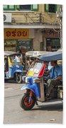 Tuk Tuk Taxis In Bangkok Thailand Beach Towel