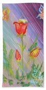 Tulips And Butterflies Beach Towel