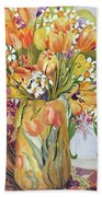 Tulips And Narcissi In An Art Nouveau Vase Beach Towel by Joan Thewsey