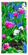 Tulips And Pansies And Grape Hyacinth By Lutheran Cathedral Of Helsinki-finland Beach Towel
