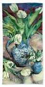 Tulips And Snowdrops Beach Towel by Julia Rowntree