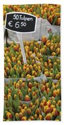 Tulips For Sale In Market, Close Up Beach Towel