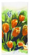 Tulips With Blue Grape Hyacinths Explosion Beach Towel