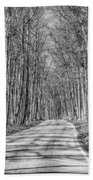 Tunnel Of Trees Black And White Beach Towel