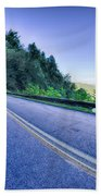 Tunnel Through Mountains On Blue Ridge Parkway In The Morning Beach Towel