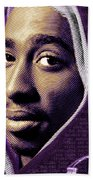 Tupac Shakur And Lyrics Beach Towel by Tony Rubino