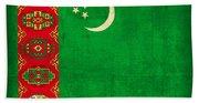 Turkmenistan Flag Vintage Distressed Finish Beach Towel