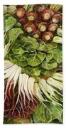 Turnip And Chard Concerto Beach Towel by Jen Norton