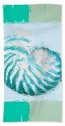 Turquoise Seashells Xii Beach Towel by Lourry Legarde