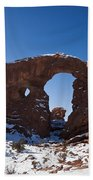 Turret Arch With Snow Arches National Park Utah Beach Towel