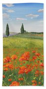 Tuscan Poppies-b Beach Towel