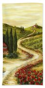 Tuscan Road With Poppies Beach Towel by Marilyn Dunlap