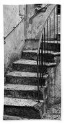 Tuscan Staircase Bw Beach Towel