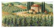 Tuscan Vineyard And Villa Beach Towel