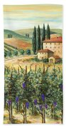 Tuscan Vineyard And Villa Beach Towel by Marilyn Dunlap