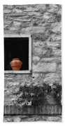 Tuscan Window And Pot Bw And Color Beach Towel