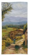 Tuscany Farm Road Beach Towel