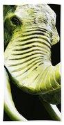 Tusk 1 - Dramatic Elephant Head Shot Art Beach Towel by Sharon Cummings