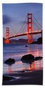 Twilight - Beautiful Sunset View Of The Golden Gate Bridge From Marshalls Beach. Beach Sheet