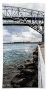 Twin Bridges Over Blue Water Beach Towel