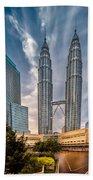 Twin Towers Kl Beach Towel by Adrian Evans