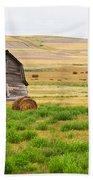 Twisted Barn On Canadian Prairie, Big Beach Towel