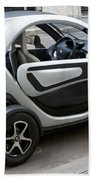 Twizy Rental Electric Car Side And Back Milan Italy Beach Towel