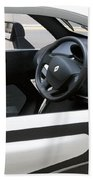 Twizy Rental Electric Car Side And Interior Milan Italy Beach Towel