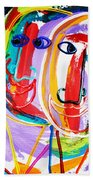 Two Abstract Faces Beach Towel