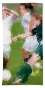Two Against One Expressionist Soccer Battle  Beach Towel