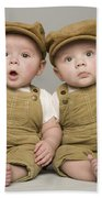 Two Babies In Matching Hat And Overalls Beach Towel