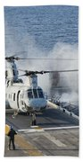 Two Ch-46e Sea Knight Helicopters Beach Towel